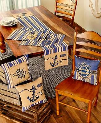 Nautical Burlap Placemats Pillow or Table Runner Anchor Ships Wheel Lighthouse