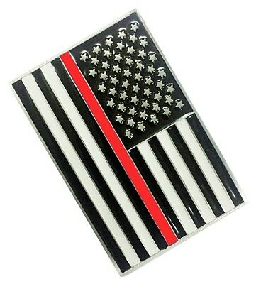 Firefighter Fire Rescue Belt Buckle Thin Red Line on United States America Flag
