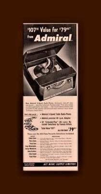 Early Ad Admiral Phonograph Record Radio