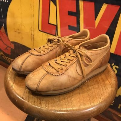 Vintage 80's NIKE Le Village Brown Leather Lace Up Cortez Sneakers Shoes Sz 10.5 Made in USA