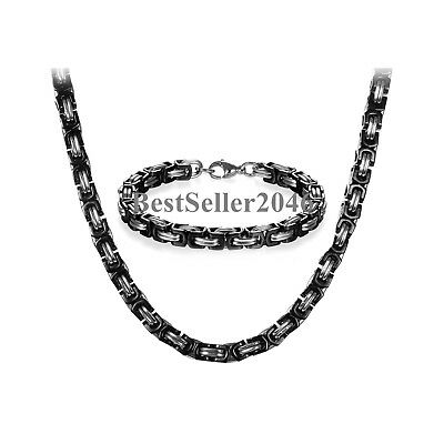 Men's Stainless Steel Mechanic Chunky Byzantine Chain Bracelet and Necklace Set