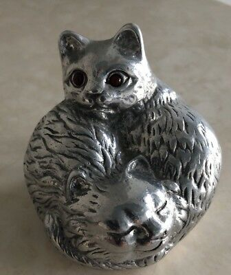 Vtg 1992 Arthur Court Designs  Cat Paperweight With Carnelian Eyes Signed EUC