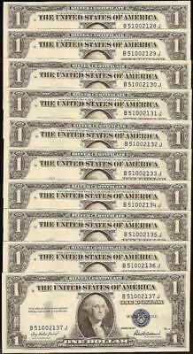 10 Cons Unc 1935F $1 Dollar Silver Certificate Blue Seal Notes Currency Lot 1615