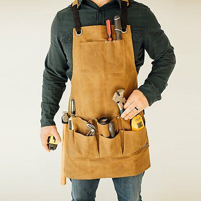 Heavy Duty Utility Work Shop Waxed Canvas Bib Apron with Tool and Chest Pockets,