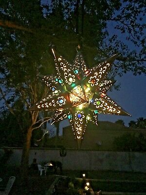 MEXICAN METAL ART  - HANGING SILVER LIGHTED STAR W/JEWELS (light included)