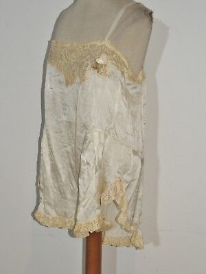Sexy 1920's - 1930's Ivory Silk Satin One Piece Step in / Teddy w Lace MED