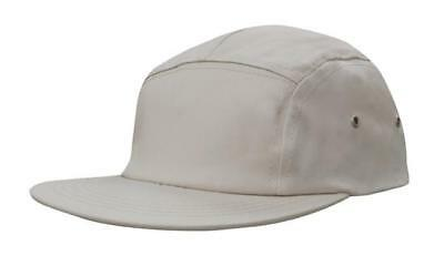 5 PANEL Cotton Twill Square Front FLAT Peak with Metal Eyelets Cap Hat - Stone