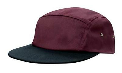 5 PANEL Cotton Twill Square Front FLAT Peak with Metal Eyelets Cap Hat - Maroon