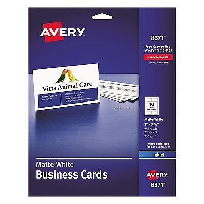 Avery Two-Side Printable Business Cards Inkjet 2 x 3-1/2 White Matte - 250/Pack