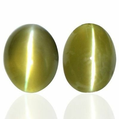 Natural Rare honey color  Chrysoberyl Cats Eye Oval Cab Pair Unheated 3.28 Cts $