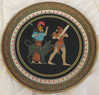 Vintage Decorative Greek Ceramic Wall Hanging Plate Hand Made In Greece