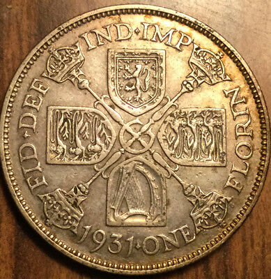 1931 Gb Uk Great Britain Florin .500 Silver Two Shillings