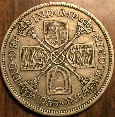 1935 Gb Uk Great Britain Florin .500 Silver Two Shillings