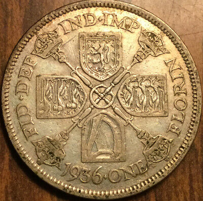 1936 Gb Uk Great Britain Florin .500 Silver Two Shillings