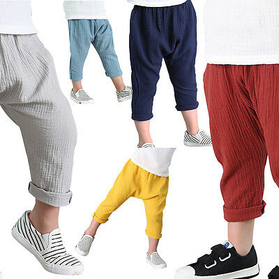 Children Kids Linen Soild Pleated Pants Ankle Length Trousers Casual Fashion