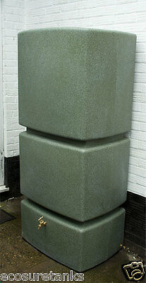 Ecosure 800 Litre Ltr Pillar Large Water Butt Rain Harvesting Tank Green Marble