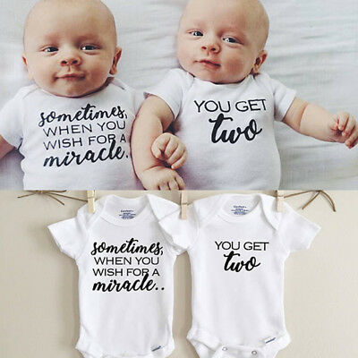 US Twins Baby Boys Girls Funny Printted Clothes Romper Bodysuit Matching Outfits