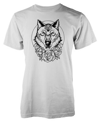 Wolf Flower Roses Tattoo Style Dog Adult T Shirt