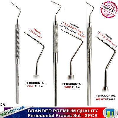 3PCS Periodontal Dental Exam Probes Williams CP-15 Probes WHO Pocket Depth Lab