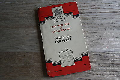 Ordnance Survey One-Inch Cloth Map Sheet 121 Derby & Leicester 1966 - FREE P&P