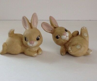 Vintage Homco Set (2) Playful Bunny Figurines #1442