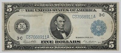 1914 Large Five 5 Dollar Federal Reserve Note Blue Seal