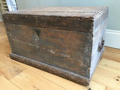 Antique 19th Century Stripped Pine Chest Blue Blanket Box Rustic Country Storage