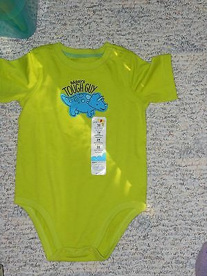 "NWT - Jumping Beans short sleeved lime green ""Daddy's Tough Guy"" shirt - 24mos"
