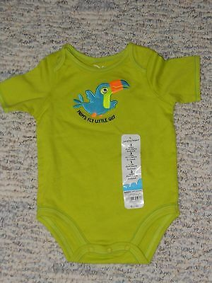 "NWT - Jumping Beans short sleeved lime ""Mom's Fly Little Guy"" shirt - 3 mos"