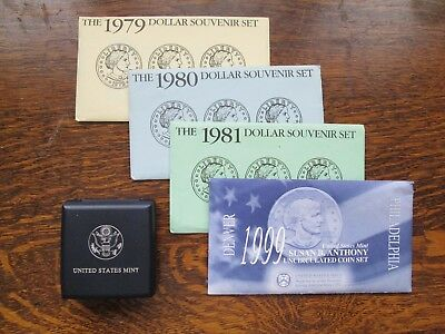 1979 1980 1981 1999 Susan B. Anthony Souvenir Uncirculated and Proof Coins