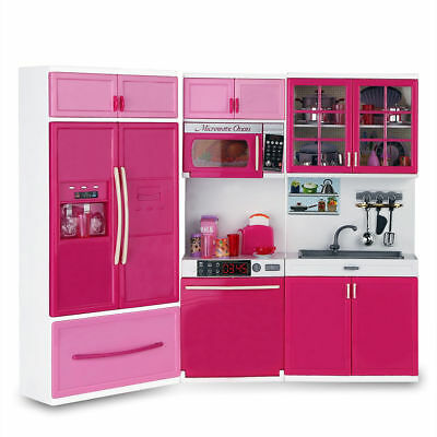 Kids Large Kitchen Playset Girlsu0026Boys Pretend Cooking Toy Play Set Pink Gift