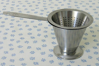 Vtg 1960s-70s Swedish conical stainless tea strainer & stand Rostfritt modernist