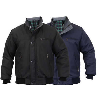 Mens Sky Diver Bomber Jacket Padded Coat Work Quilted/Checked Tartan Winter New