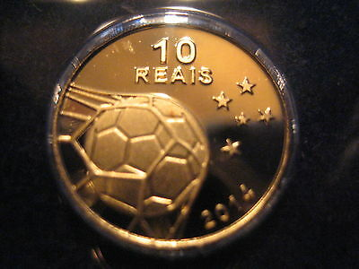 """Mds Brasilien 10 Reais 2014 Proof """"2014 Fifa World Cup"""", Official Gold Coin"""