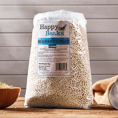 Wild Bird Food Meal Worm Suet Fat Pellets Premium Grade 3 12.75 25kg Happy Beaks