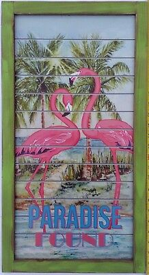 """New Wooden Paradise Found Pink Flamingo Island Sign Man Cave Beautiful 26""""x14"""""""