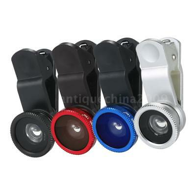 Mobile Phone Lens 5 in 1 Fish Eye Wide Angle Macro Clip-on Camera Lens Kit X3B7