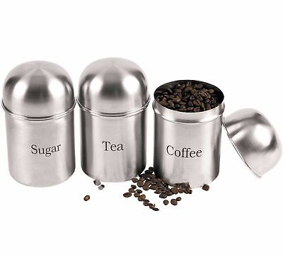 set of 3 Stainless Steel Kitchen Storage Canisters Tea Sugar Coffee Jar Lid Tins