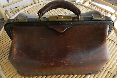 Vintage Antique Medical Surgical Doctor Surgeon Bag Satchel