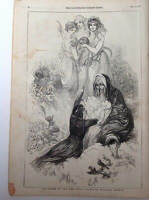 The Birth Of The New Year, Drawn By W. Harvey,   Antique Print 1846, Original
