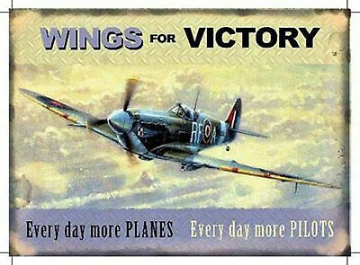 """Wings for Victory  Vintage style repo metal wall sign 8"""" x 6"""""""