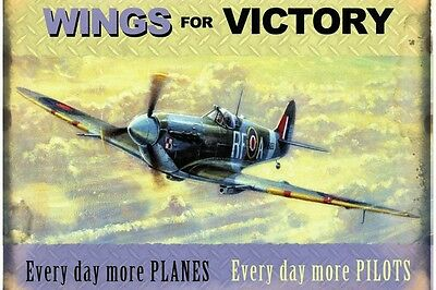 """Wings for Victory Vintage style repo metal wall sign 16"""" x 12"""""""