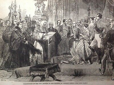 Presentation Of The City Address To Her Majesty, Antique Print 1846, Original