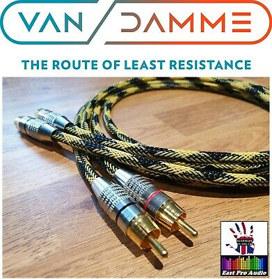 Linear Crystal OFC Van Damme Gold RCA Phono Cable Black & Orange braided 1m pair