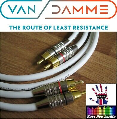 1m Pair - Van Damme RCA Phono Cables - Pro Grade Silver Plated Pure OFC white