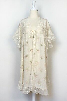 Vintage Christian Dior Sleepwear Robe Floral Intimates Lingerie Slip  Nightgown 31b9071f3