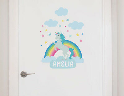 Personalised Unicorn & Rainbow Name Stickers - Perfect for Girl's Bedroom