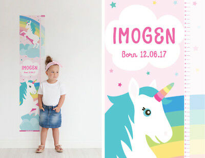 Personalised Unicorn Height Chart Poster