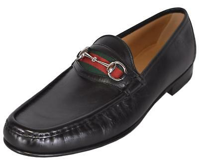 183de9a92894 See Details. NEW Gucci Men s 157440 Black Leather Red Green Web Horsebit  Loafers Shoes