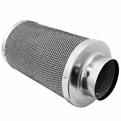 Air Carbon Charcoal Filter Inline Fan  Silver Scrubber Odor Control 4""